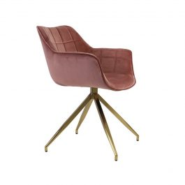 Jaimy Old Pink+Gold Velvet Dining Chair