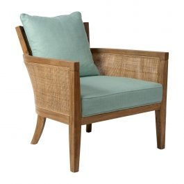 Oak and Rattan Armchair Laksoa with Sea Green Upholstery