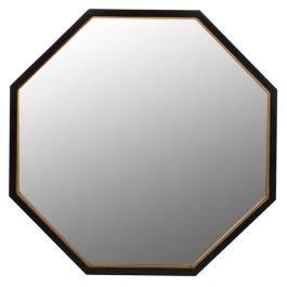 Black and Gold Hexagonal Mirror