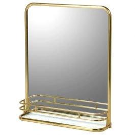Brass Wall Mirror with Shelf