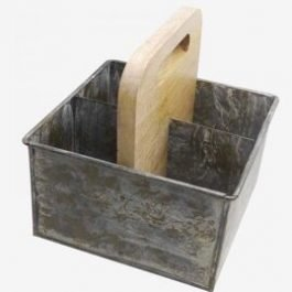 Outdoor Metal and Wood Cutlery Holder
