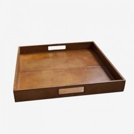 Square Brown Leather Tray
