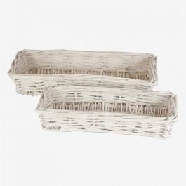 White Wicker Breadbasket