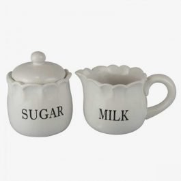 White Ceramic Sugar & Milk Bowls